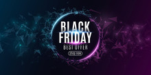 Abstract Web Banner For Black Friday Sale. Red Grunge Brush With Glitters And Black Balloons. Design For Your Business.. Vector Illustration