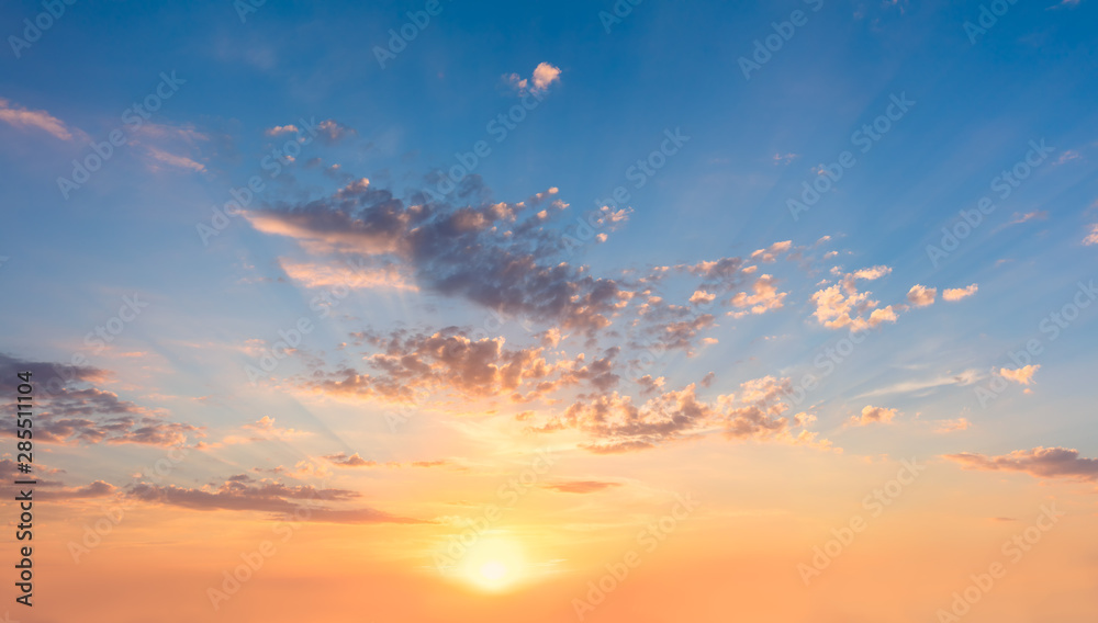 Fototapety, obrazy: Gentle Sky at Sunset Sunrise with real sun and clouds