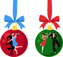 Christmas Ornaments With Couples Dressed In 1920s Outfits Dancing The Charleston, EPS 8 Vector Illustration
