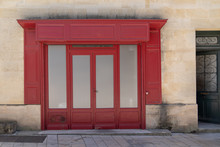 Old Retro Empty Shop Facade Bordeaux Red In France Europe With Blank Copy Frame Space