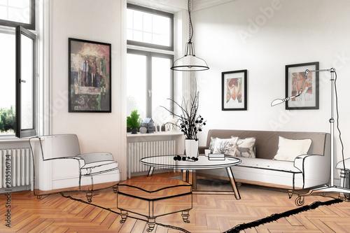 Obraz living room with artwork (draft) - 3d illustration - fototapety do salonu