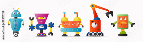Set of cute vector robot characters for kids Wallpaper Mural