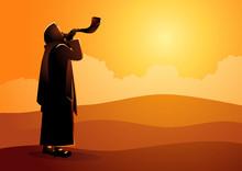 Jewish Man Blowing The Shofar Ram's Horn