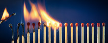 Matches Lit In Row Burning In ...
