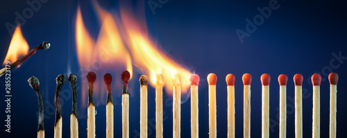 Fotomural  Matches Lit In Row Burning In Chain Reaction