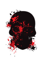 Halloween Skull Icon Red And B...