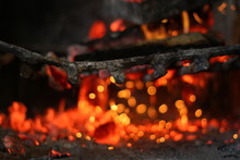 Fire On Barbecue