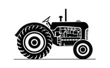 Illustration Of Vintage Black Tractor