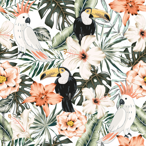 Toucans, parrots, hibiscus, orchid flowers, monstera palm leaves, white background. Vector floral seamless pattern. Tropical illustratioExotic plants, birds. Summer beach design. Paradise nature