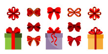 Gift Boxes. Bows. Set Icon. Vector. Flat.