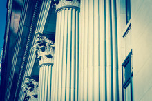 Upward View Of Typical Government Building Columns In Downtown Chicago