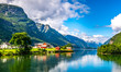 canvas print picture Amazing nature view with fjord and mountains. Beautiful reflection. Location: Scandinavian Mountains, Norway. Artistic picture. Beauty world. The feeling of complete freedom