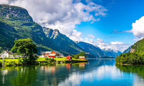 Amazing nature view with fjord and mountains Canvas Print