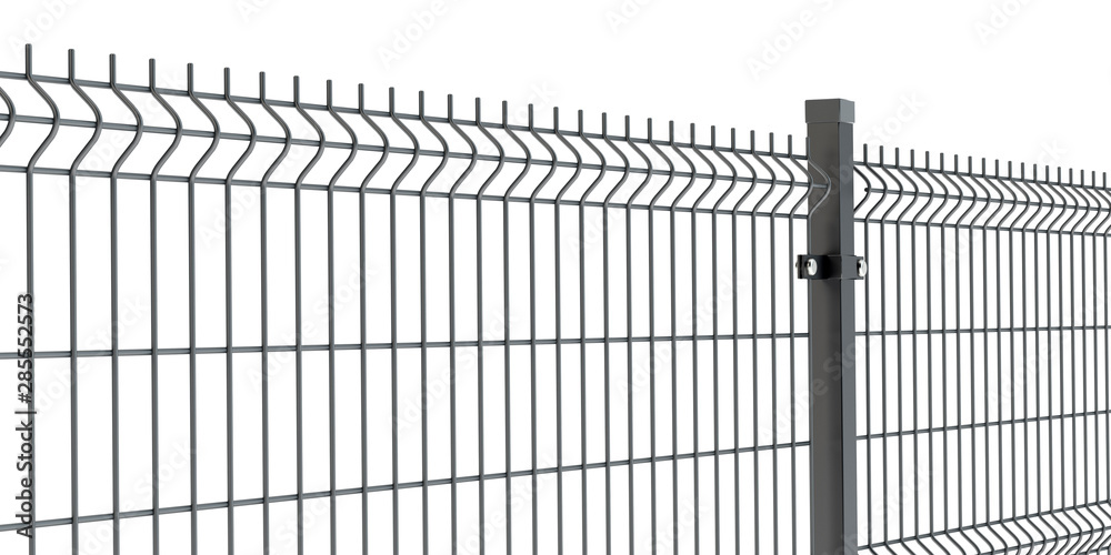 Fototapeta Fence panel isolated on white, rod type 2, 3D illustration