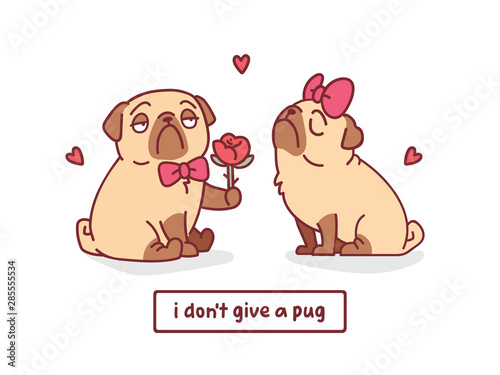 Photo cute valentines day card with cartoon pug dogs with rose and hearts character ve