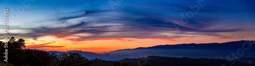 Obraz Aerial view of beautiful panoramic skyline sunset with vibrant colors in Caracas Venezuela. - fototapety do salonu