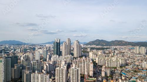 Aerial view of Seoul City Skyline,South Korea Canvas Print