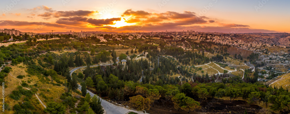 Fototapeta Aerial sunset view of Jerusalem  with the old city and the western parts, Rehavia, Abu Tor and talpiyot