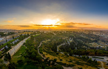 Aerial View Of Sunset Over Jerusalem The Eternal City