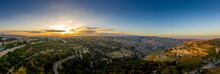 Aerial Sunset View Of Jerusalem  With The Old City And The Western Parts, Silwan, Rehavia, Abu Tor And Talpiyot