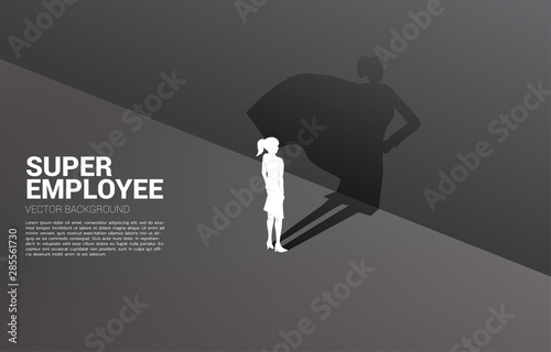 Fotomural  Silhouette of businesswoman and his shadow of superhero