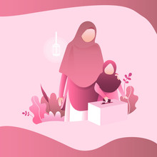 Mom And Son Muslim Illustration