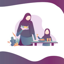 Mom And Son Muslim Lunch Illus...