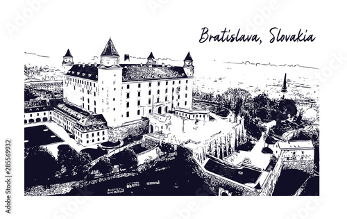 Photo Bratislava castle. Sketch illustration in vector