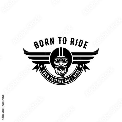 Photo born to ride emblem vector logo design