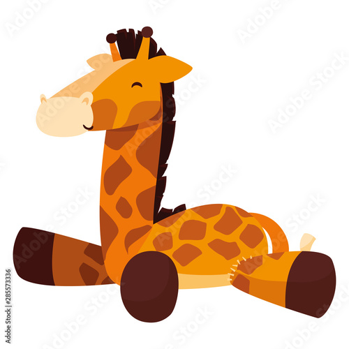 Photo  giraffe toy baby on white background