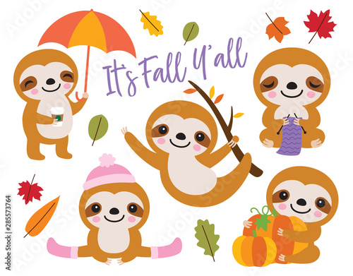 Vector illustration of cute baby sloth with Fall or Autumn theme.