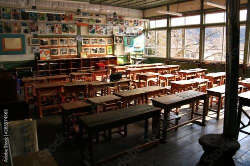 Obraz na plátně  遠山郷 旧木沢小学校の風景
