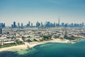 Aerial view on the beach of Dubai, UAE, on a summer day.