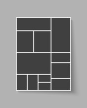 Vector Template Collage Twelve Frame, Photo, Part.