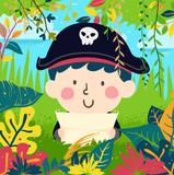 Kid Boy Pirate Find Treasure Jungle Illustration