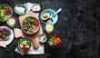 Healthy vegetarian dinner table setting