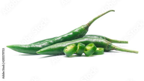 Foto auf AluDibond Hot Chili Peppers green chili pepper on white background