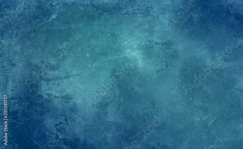 Blue cold ice background with scratches and patterns, frozen water texture - 285581757