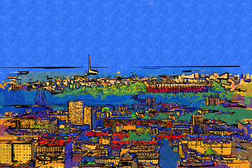 FototapetaWarsaw cityscape exterior art painting illustration