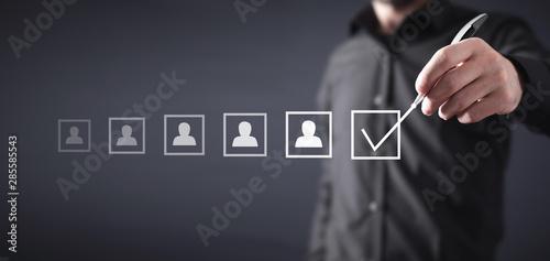 Fototapeta Select best employee. Human resources management obraz