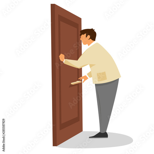 a man knocks on the door. vector flat illustration Fototapete