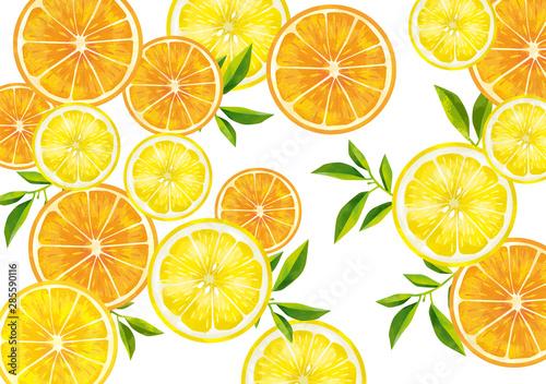 Obraz na plátně  果物 レモン オレンジ 断面図 輪切り カットフルーツ 水彩 絵の具 手書き
