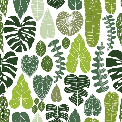 mata magnetyczna Hand drawn tropical plants. Vector seamless pattern