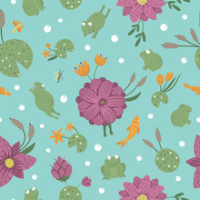 Vector Seamless Pattern Of Cartoon Style Flat Funny Frogs In Different Poses With Waterlily, Dragonfly, Mosquito, Reed, Heron On Blue Background. Cute Repeat Ornament With Woodland Swamp Animals. .