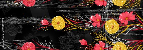 Seamless textile flower border on black background - 285592573