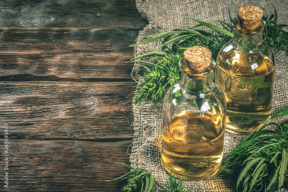 Fototapeta CBD oil bottles and green plant of cannabis on a wooden background. Herbal medicine.