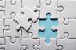 Leinwandbild Motiv Jigsaw puzzle with missing piece. Missing puzzle pieces