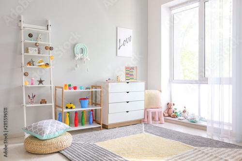 Obraz Interior of modern children's room with toys - fototapety do salonu
