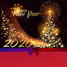 Merry Christmas And Happy New Year. Happy New Year 2020 - Marry Christmas Background With Gold 2020 - Vector