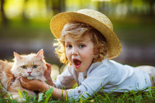 Little Curly Boy With A Redhead Cat, Outdoor Summer Day